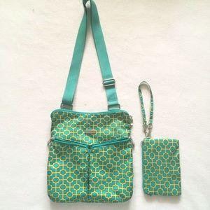Baggallini Horizon Teal Yellow Trellis Bag + Pouch